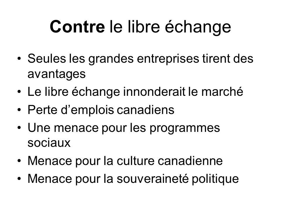 Contre le libre échange Seules les grandes entreprises tirent des avantages Le libre échange innonderait le marché Perte demplois canadiens Une menace pour les programmes sociaux Menace pour la culture canadienne Menace pour la souveraineté politique
