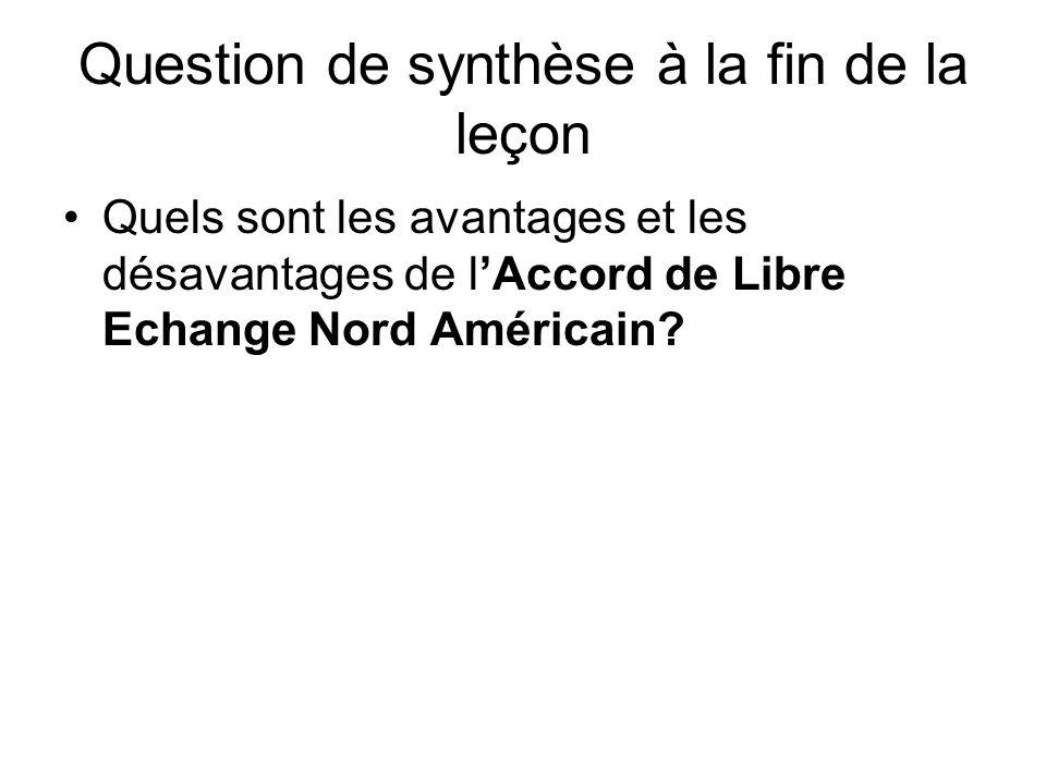 Question de synthèse à la fin de la leçon Quels sont les avantages et les désavantages de lAccord de Libre Echange Nord Américain?