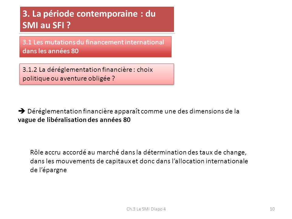 Ch.3 Le SMI Diapo 410 3. La période contemporaine : du SMI au SFI ? 3.1 Les mutations du financement international dans les années 80 3.1.2 La dérégle