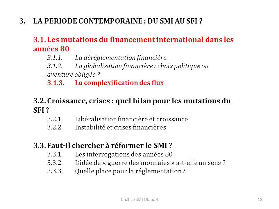 Ch.3 Le SMI Diapo 412 3.LA PERIODE CONTEMPORAINE : DU SMI AU SFI ? 3.1.Les mutations du financement international dans les années 80 3.1.1.La déréglem