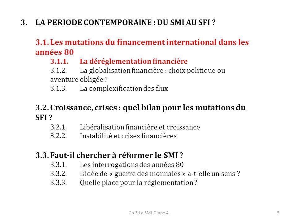 3 3.LA PERIODE CONTEMPORAINE : DU SMI AU SFI ? 3.1.Les mutations du financement international dans les années 80 3.1.1.La déréglementation financière