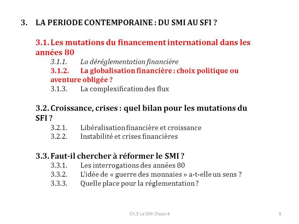 Ch.3 Le SMI Diapo 420 Années 90 marquent une nouvelle étape : orientation des flux vers les pays émergents (Asie du Sud Est, pays en transition) Processus de libéralisation financière avec développement de flux privés Importance croissante des marchés financiers émergents