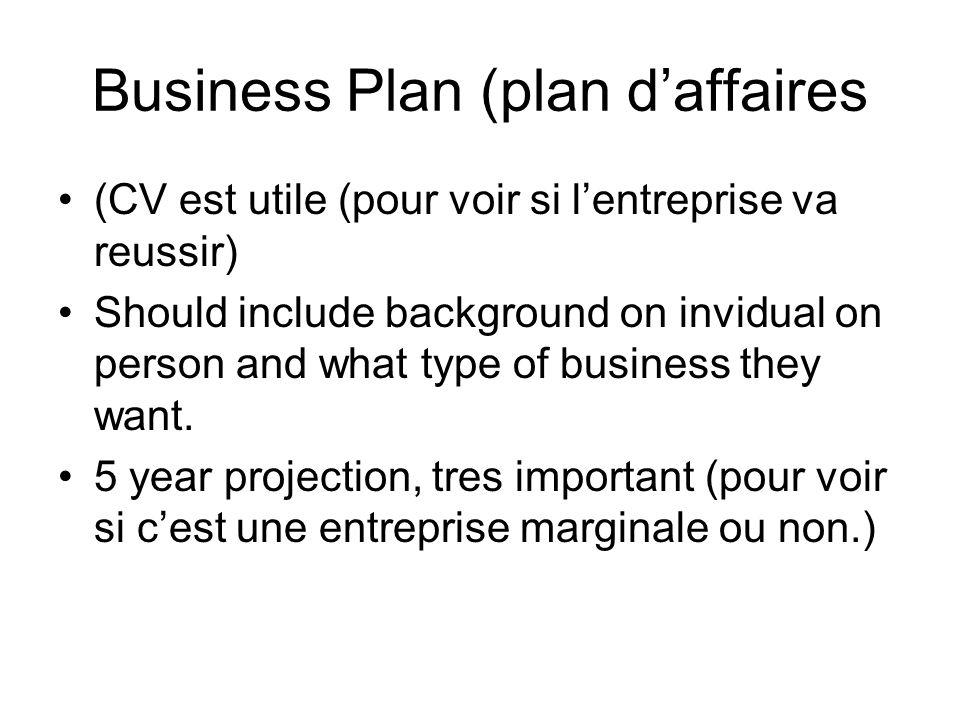 Business Plan (plan daffaires (CV est utile (pour voir si lentreprise va reussir) Should include background on invidual on person and what type of bus