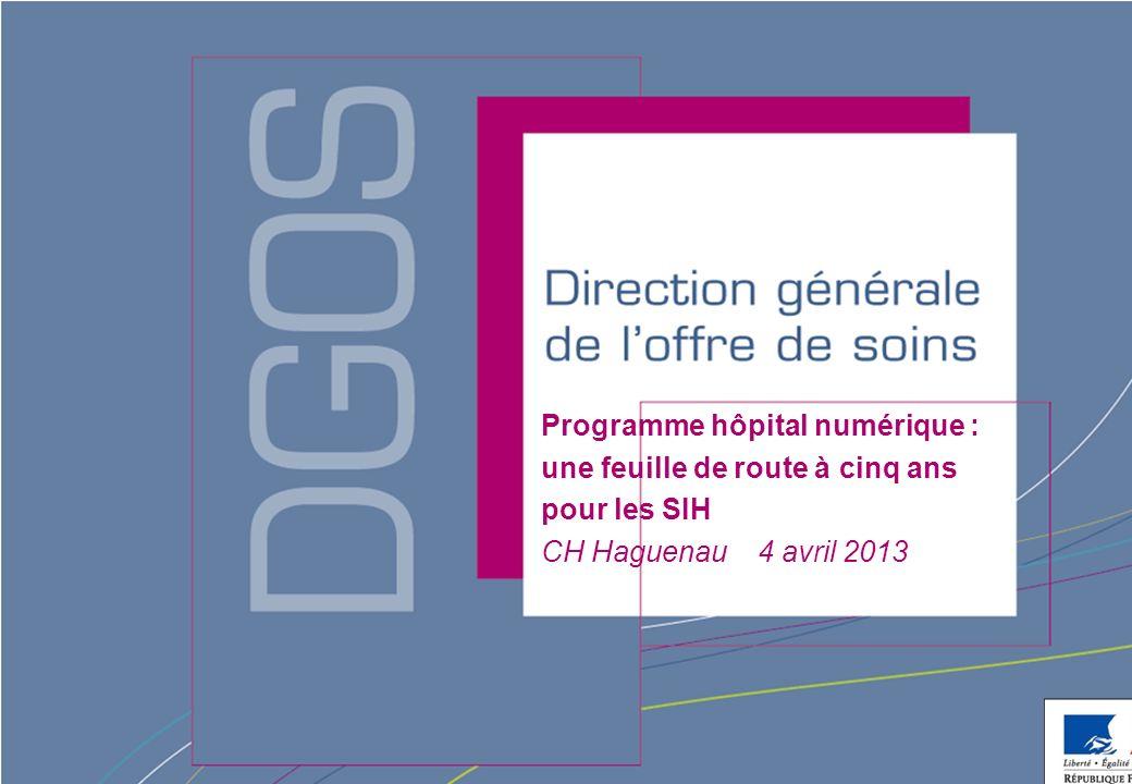 Direction générale de loffre de soins - DGOS Programme hôpital numérique Le « programme hôpital numérique » est une stratégie à 5 ans (2012- 2016) pour le développement et la modernisation des systèmes dinformation hospitaliers (SIH).