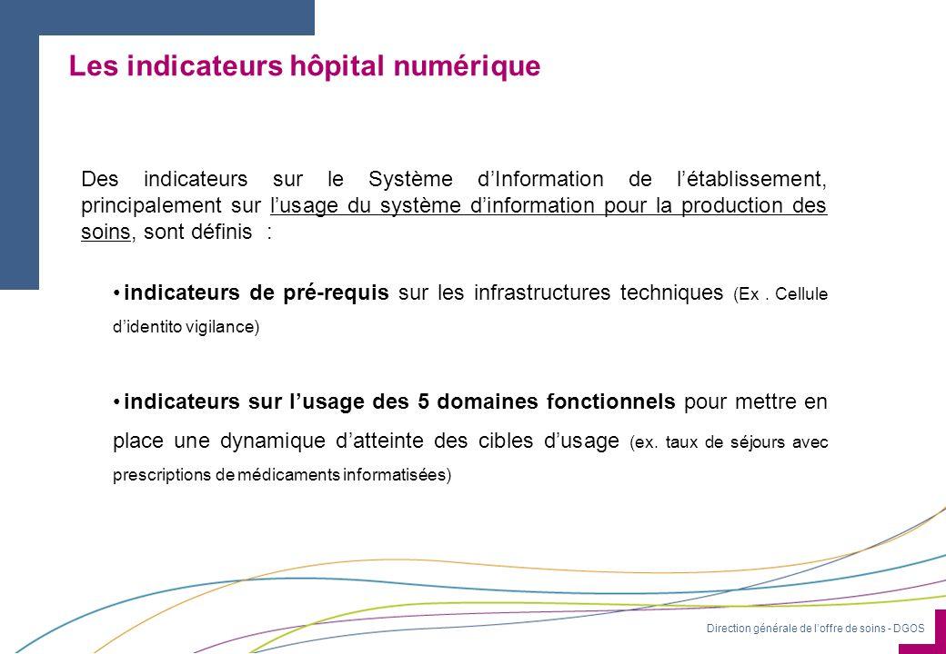 Direction générale de loffre de soins - DGOS Des indicateurs sur le Système dInformation de létablissement, principalement sur lusage du système dinfo