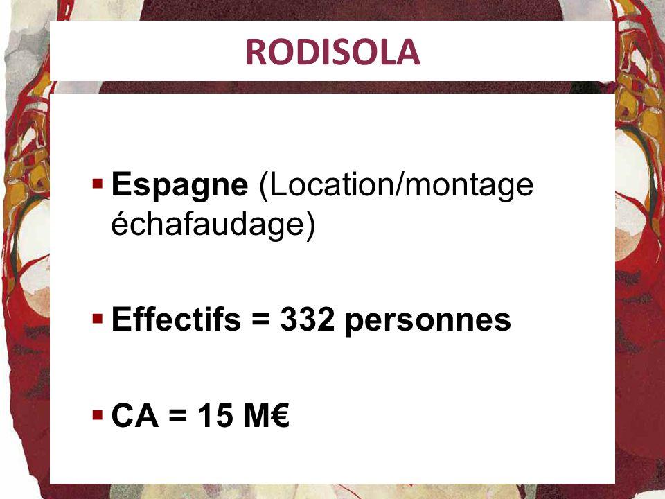 RODISOLA Espagne (Location/montage échafaudage) Effectifs = 332 personnes CA = 15 M