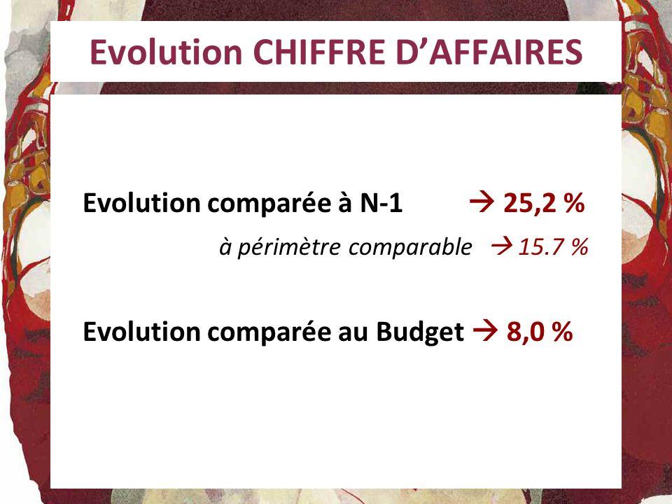Evolution CHIFFRE DAFFAIRES Evolution comparée à N-1 25,2 % à périmètre comparable 15.7 % Evolution comparée au Budget 8,0 %