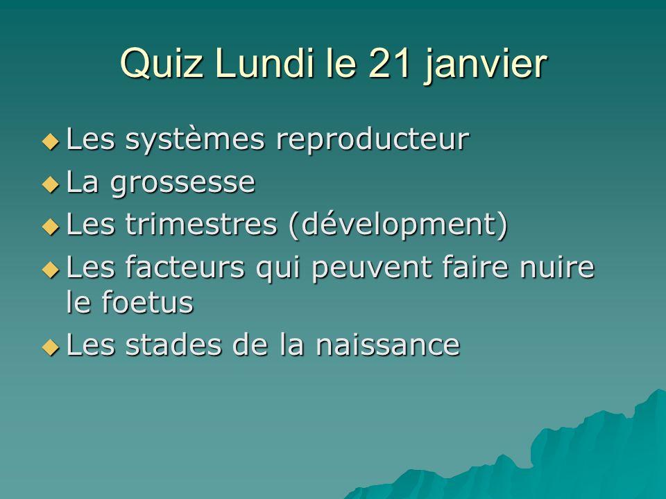 Quiz Lundi le 21 janvier Les systèmes reproducteur Les systèmes reproducteur La grossesse La grossesse Les trimestres (dévelopment) Les trimestres (dé