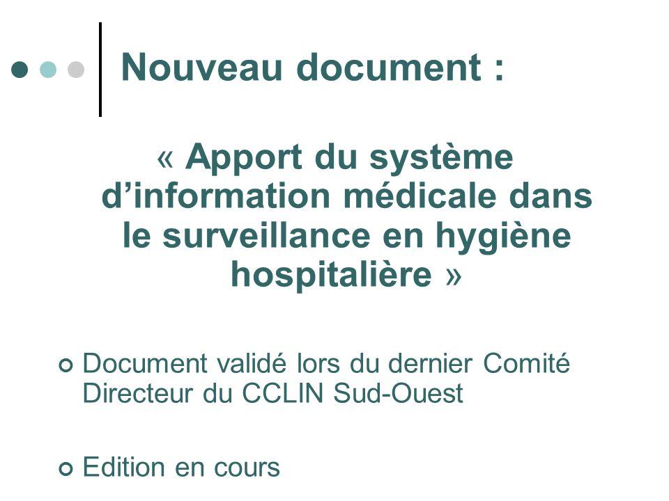 Nouveau document : « Apport du système dinformation médicale dans le surveillance en hygiène hospitalière » Document validé lors du dernier Comité Dir