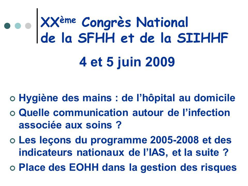 XX ème Congrès National de la SFHH et de la SIIHHF 4 et 5 juin 2009 Hygiène des mains : de lhôpital au domicile Quelle communication autour de linfect