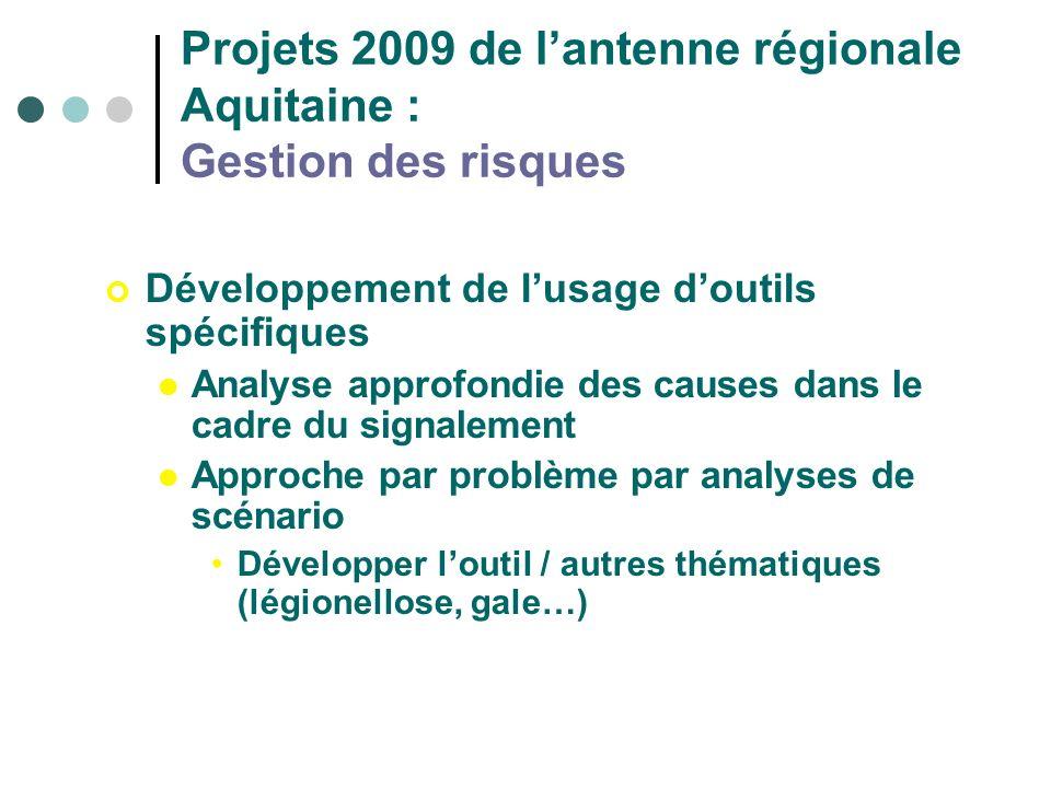 Projets 2009 de lantenne régionale Aquitaine : Gestion des risques Développement de lusage doutils spécifiques Analyse approfondie des causes dans le