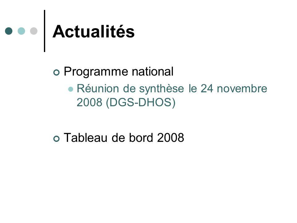 Actualités Programme national Réunion de synthèse le 24 novembre 2008 (DGS-DHOS) Tableau de bord 2008