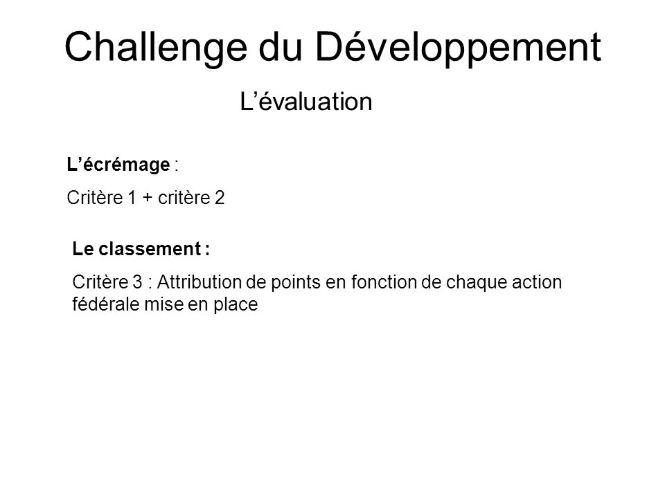 Challenge du Développement Lévaluation Lécrémage : Critère 1 + critère 2 Le classement : Critère 3 : Attribution de points en fonction de chaque actio
