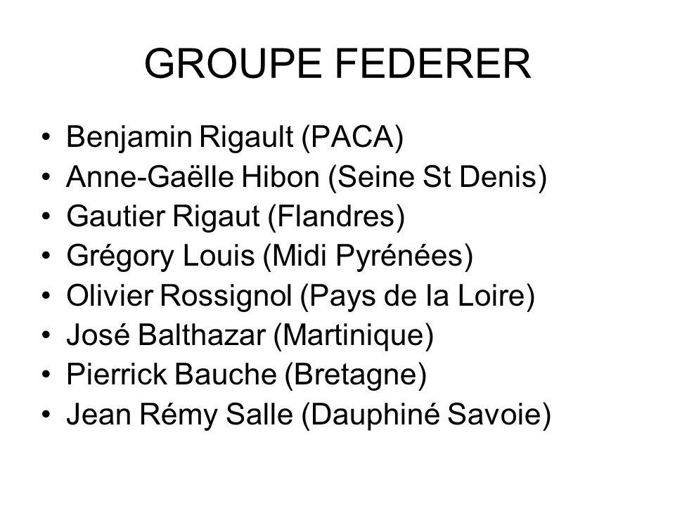 GROUPE FEDERER Benjamin Rigault (PACA) Anne-Gaëlle Hibon (Seine St Denis) Gautier Rigaut (Flandres) Grégory Louis (Midi Pyrénées) Olivier Rossignol (P