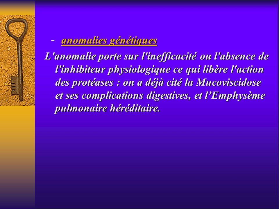 anomalies génétiques - anomalies génétiques L'anomalie porte sur l'inefficacité ou l'absence de l'inhibiteur physiologique ce qui libère l'action des