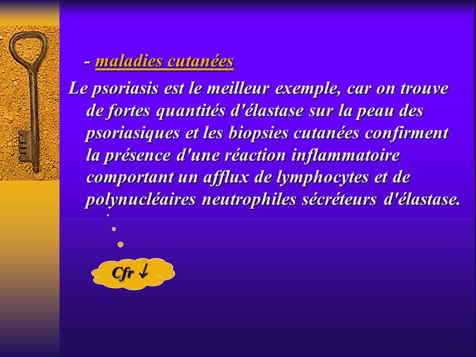 - maladies cutanées - maladies cutanées Le psoriasis est le meilleur exemple, car on trouve de fortes quantités d'élastase sur la peau des psoriasique