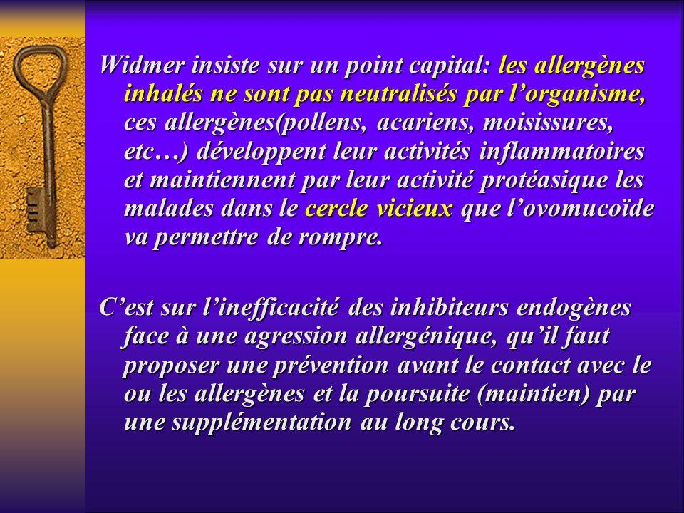 Widmer insiste sur un point capital: les allergènes inhalés ne sont pas neutralisés par lorganisme, ces allergènes(pollens, acariens, moisissures, etc