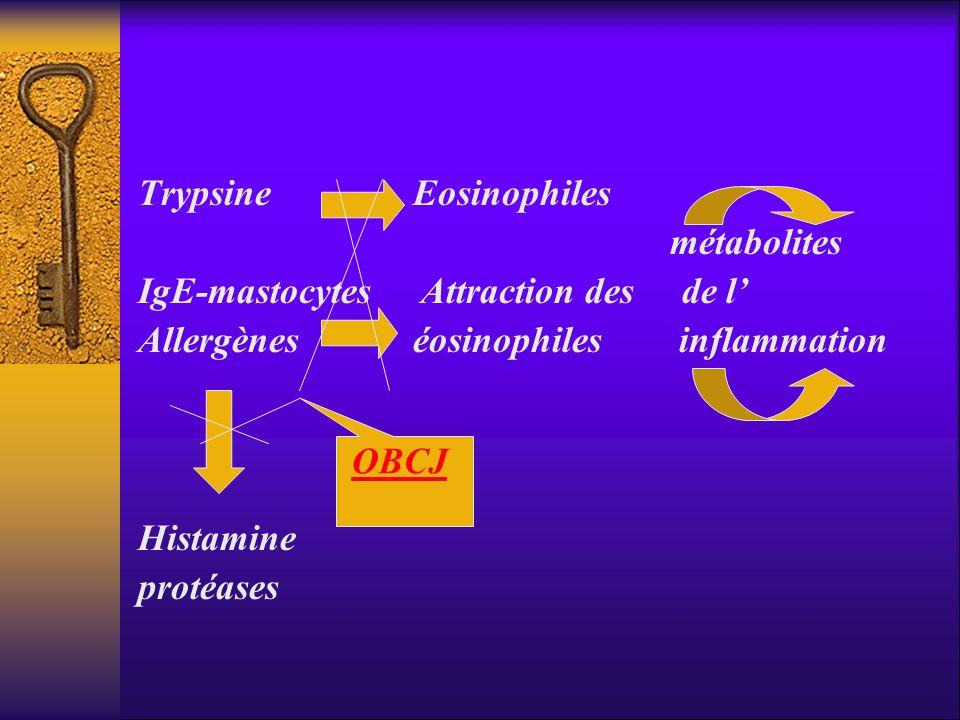 Trypsine Eosinophiles métabolites IgE-mastocytes Attraction des de l Allergènes éosinophiles inflammation Histamine protéases OBCJ