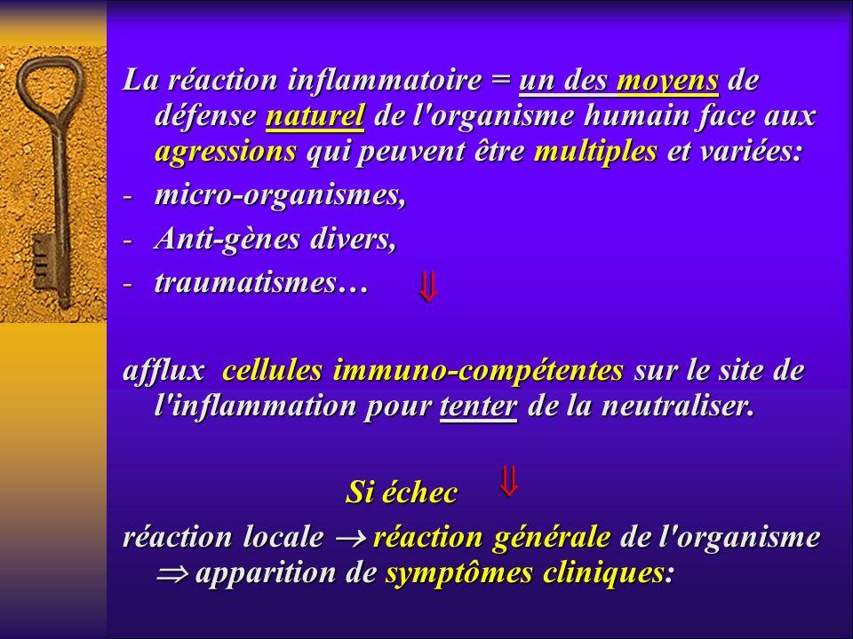 La réaction inflammatoire = un des moyens de défense naturel de l'organisme humain face aux agressions qui peuvent être multiples et variées: - micro-