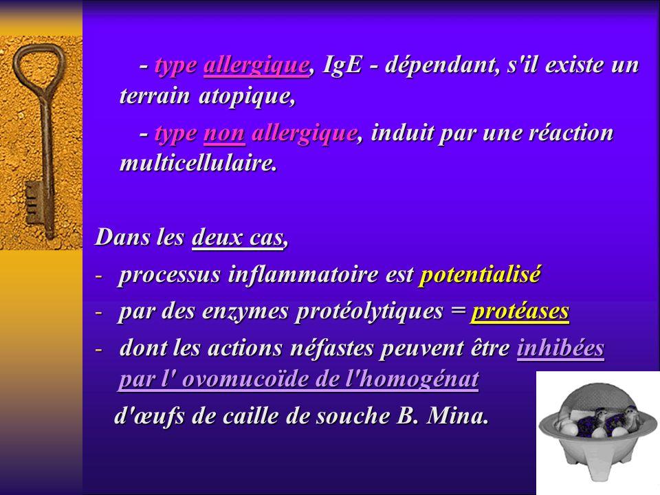 - type allergique, IgE - dépendant, s'il existe un terrain atopique, - type allergique, IgE - dépendant, s'il existe un terrain atopique, - type non a