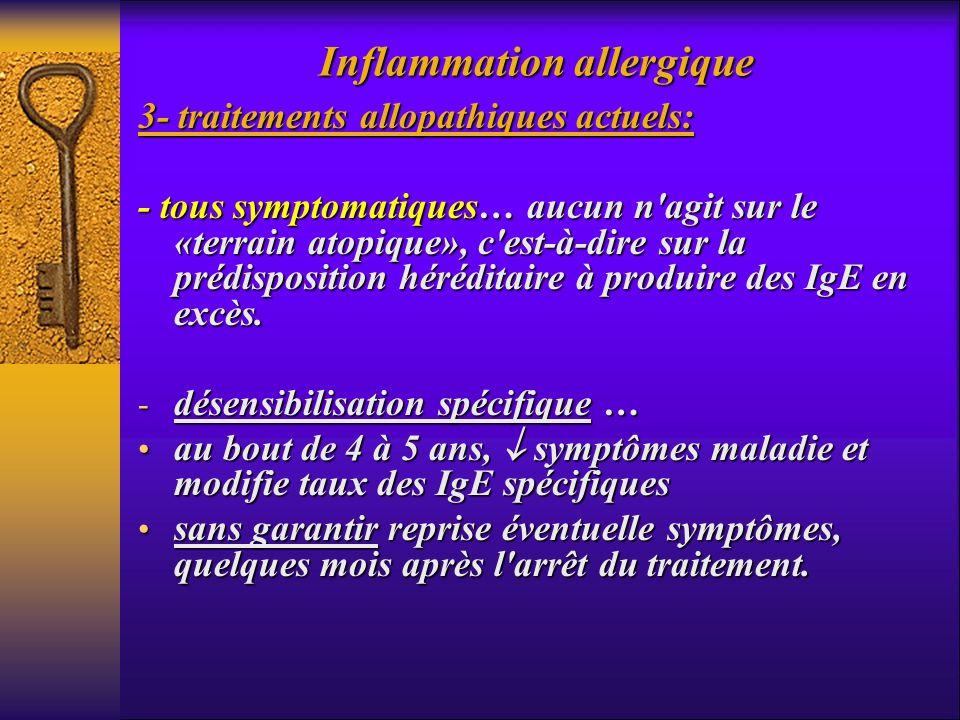 Inflammation allergique 3- traitements allopathiques actuels: - tous symptomatiques… aucun n'agit sur le «terrain atopique», c'est-à-dire sur la prédi