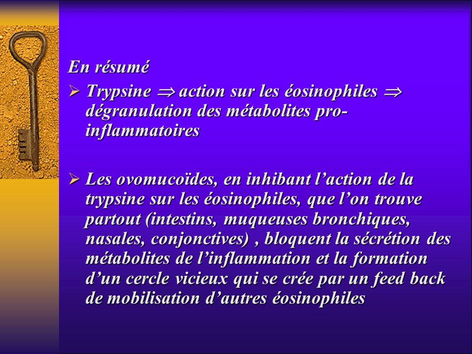 En résumé Trypsine action sur les éosinophiles dégranulation des métabolites pro- inflammatoires Trypsine action sur les éosinophiles dégranulation de