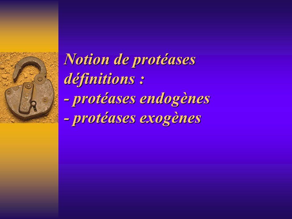 Notion de protéases définitions : - protéases endogènes - protéases exogènes