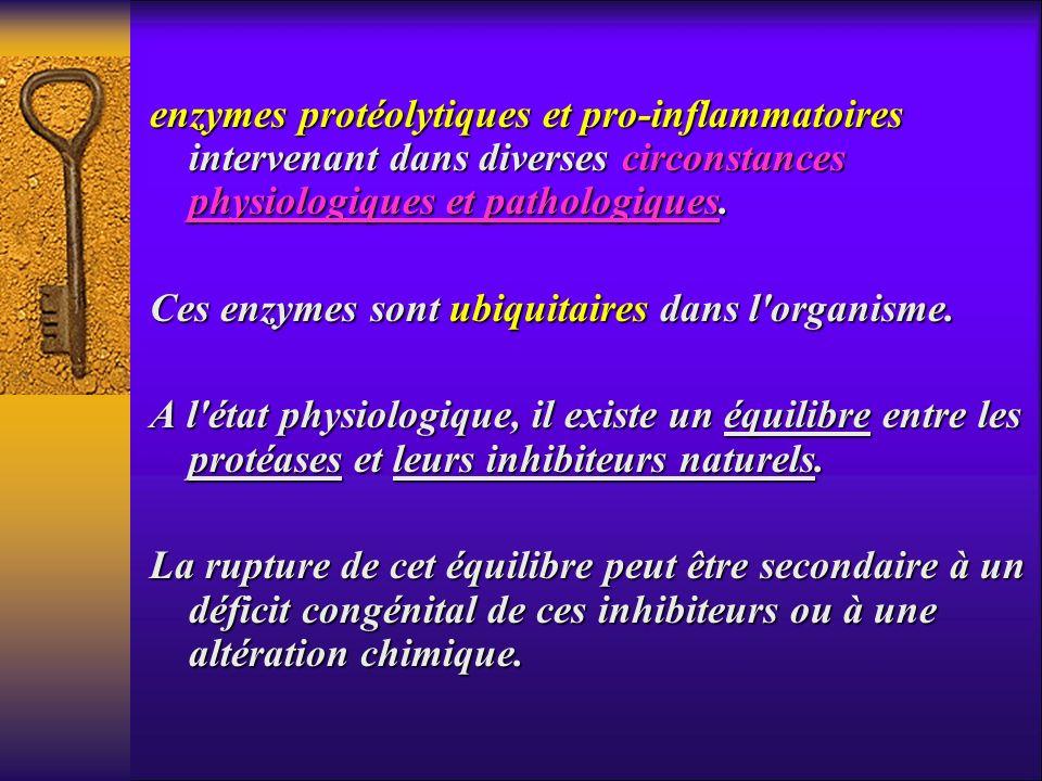 enzymes protéolytiques et pro-inflammatoires intervenant dans diverses circonstances physiologiques et pathologiques. Ces enzymes sont ubiquitaires da
