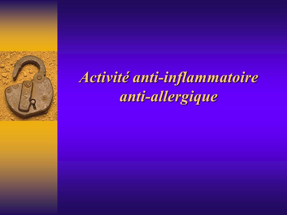 Inflammation allergique Résultats obtenus avec cet homogénat montrent: - efficacité symptomatique immédiate - action préventive - action sur le «terrain allergique» par stabilisation puis synthèse des IgE Fait remarquable, il n est pas obligatoirement nécessaire de faire l éviction de tous les allergènes responsables.