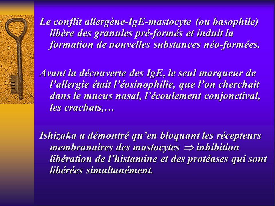 Le pontage allergène- lgE va provoquer 1.dégranulation cellule cible : -mastocyte -mastocyte -basophile -basophile 2.