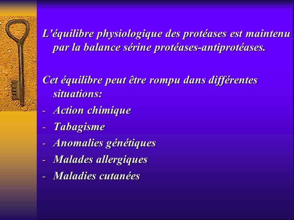 L'équilibre physiologique des protéases est maintenu par la balance sérine protéases-antiprotéases. Cet équilibre peut être rompu dans différentes sit