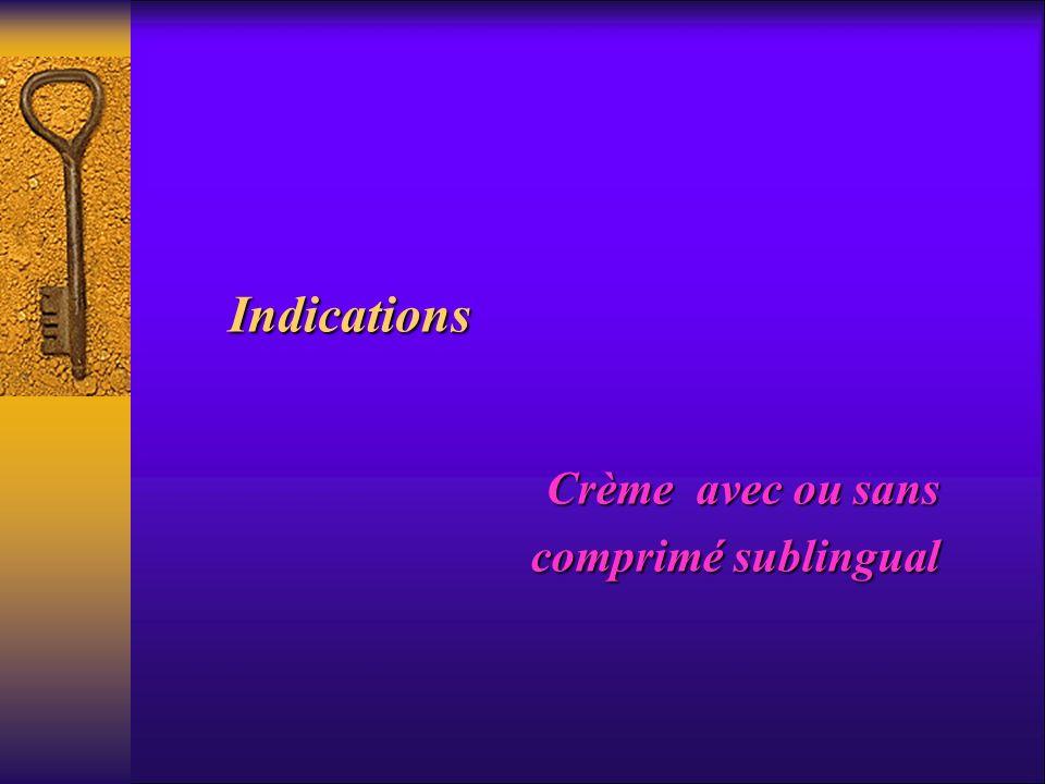 Indications Crème avec ou sans comprimé sublingual