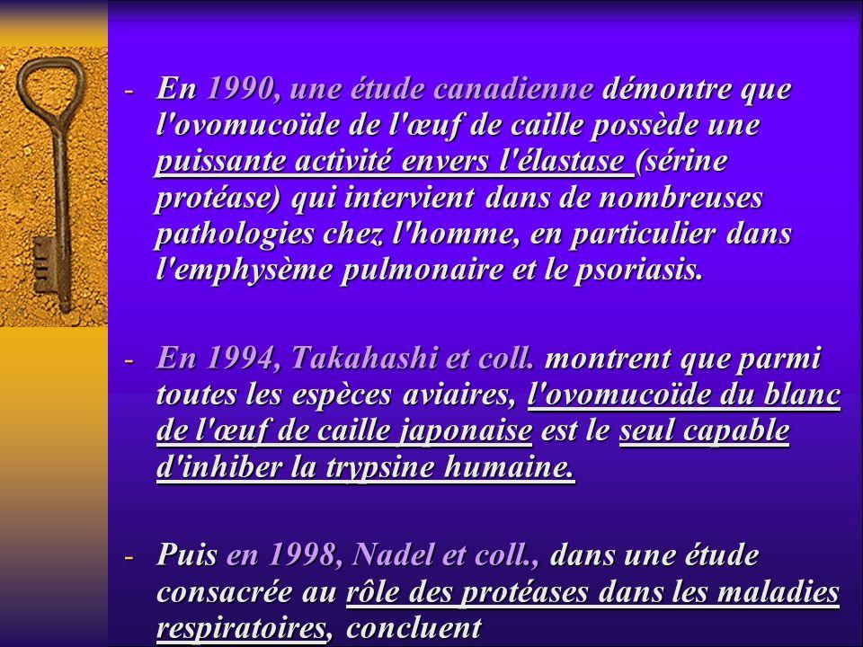 - En 1990, une étude canadienne démontre que l'ovomucoïde de l'œuf de caille possède une puissante activité envers l'élastase (sérine protéase) qui in