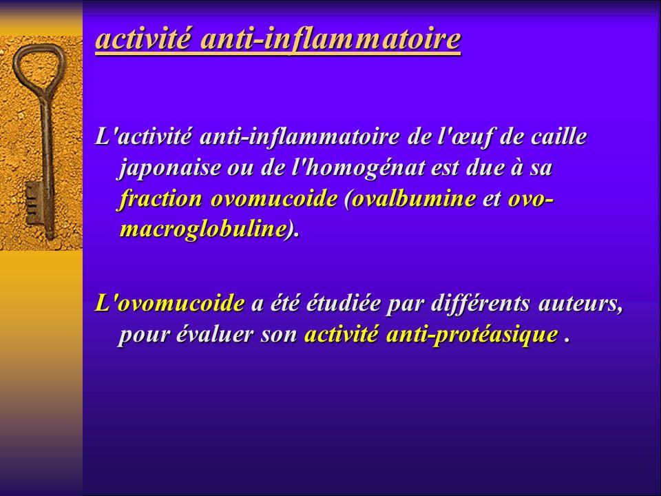 activité anti-inflammatoire L'activité anti-inflammatoire de l'œuf de caille japonaise ou de l'homogénat est due à sa fraction ovomucoide (ovalbumine