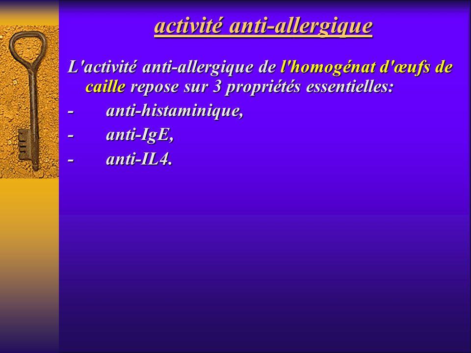 activité anti-allergique L'activité anti-allergique de l'homogénat d'œufs de caille repose sur 3 propriétés essentielles: - anti-histaminique, - anti-