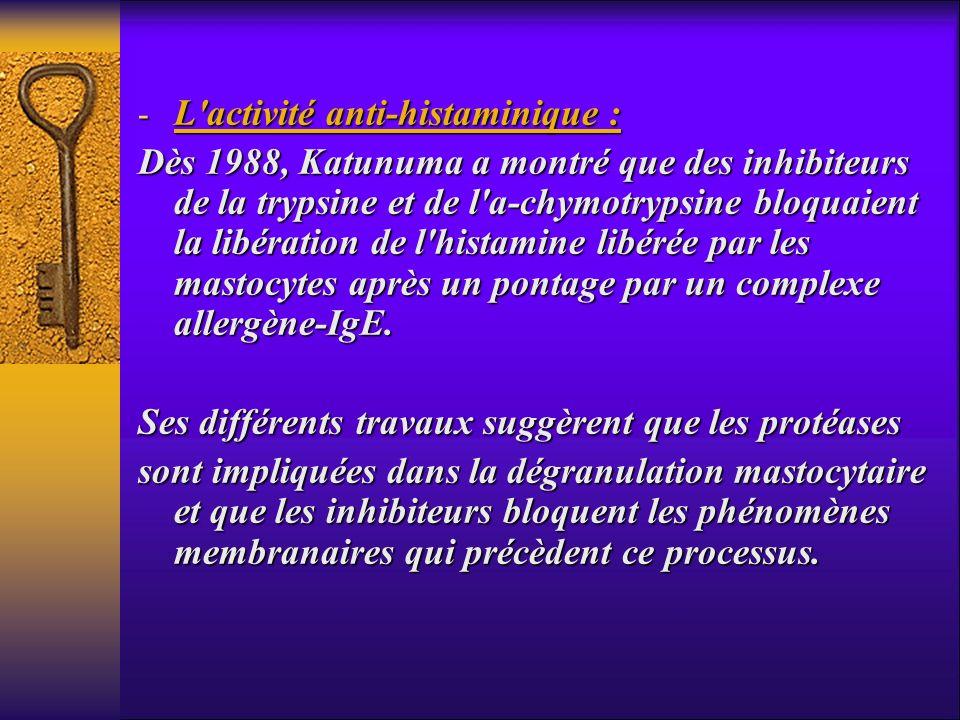 - L'activité anti-histaminique : Dès 1988, Katunuma a montré que des inhibiteurs de la trypsine et de l'a-chymotrypsine bloquaient la libération de l'