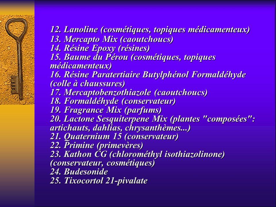 12. Lanoline (cosmétiques, topiques médicamenteux) 13. Mercapto Mix (caoutchoucs) 14. Résine Epoxy (résines) 15. Baume du Pérou (cosmétiques, topiques