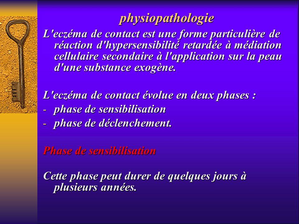 physiopathologie L'eczéma de contact est une forme particulière de réaction d'hypersensibilité retardée à médiation cellulaire secondaire à l'applicat