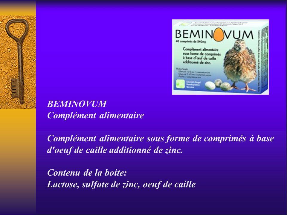 BEMINOVUM Complément alimentaire Complément alimentaire sous forme de comprimés à base d'oeuf de caille additionné de zinc. Contenu de la boite: Lacto