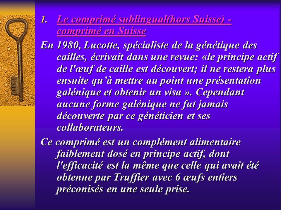 1. Le comprimé sublingual(hors Suisse) - comprimé en Suisse En 1980, Lucotte, spécialiste de la génétique des cailles, écrivait dans une revue: «le pr