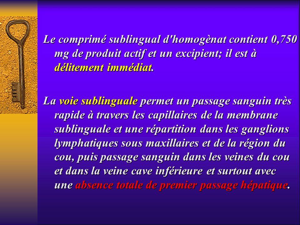 Le comprimé sublingual d'homogènat contient 0,750 mg de produit actif et un excipient; il est à délitement immédiat. La voie sublinguale permet un pas