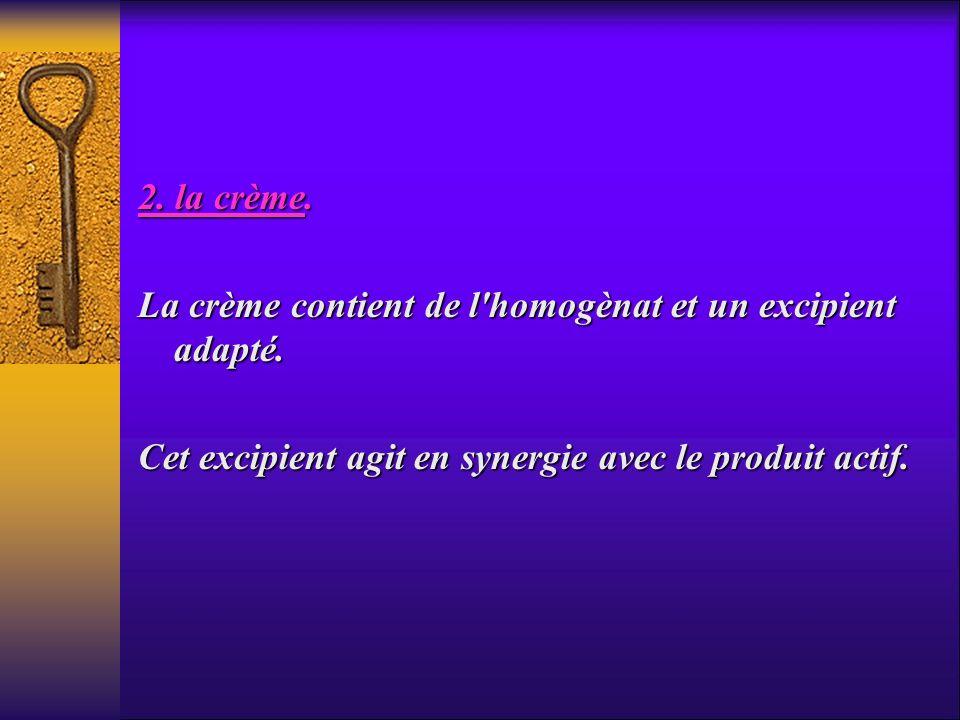 2. la crème. La crème contient de l'homogènat et un excipient adapté. Cet excipient agit en synergie avec le produit actif.