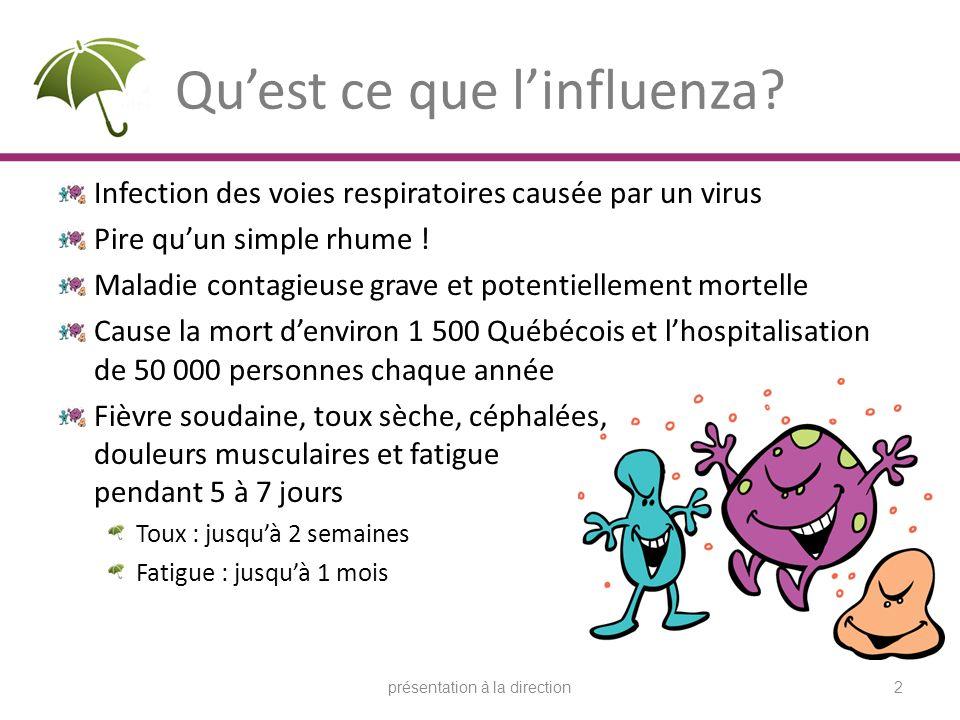 Quest ce que linfluenza? Infection des voies respiratoires causée par un virus Pire quun simple rhume ! Maladie contagieuse grave et potentiellement m