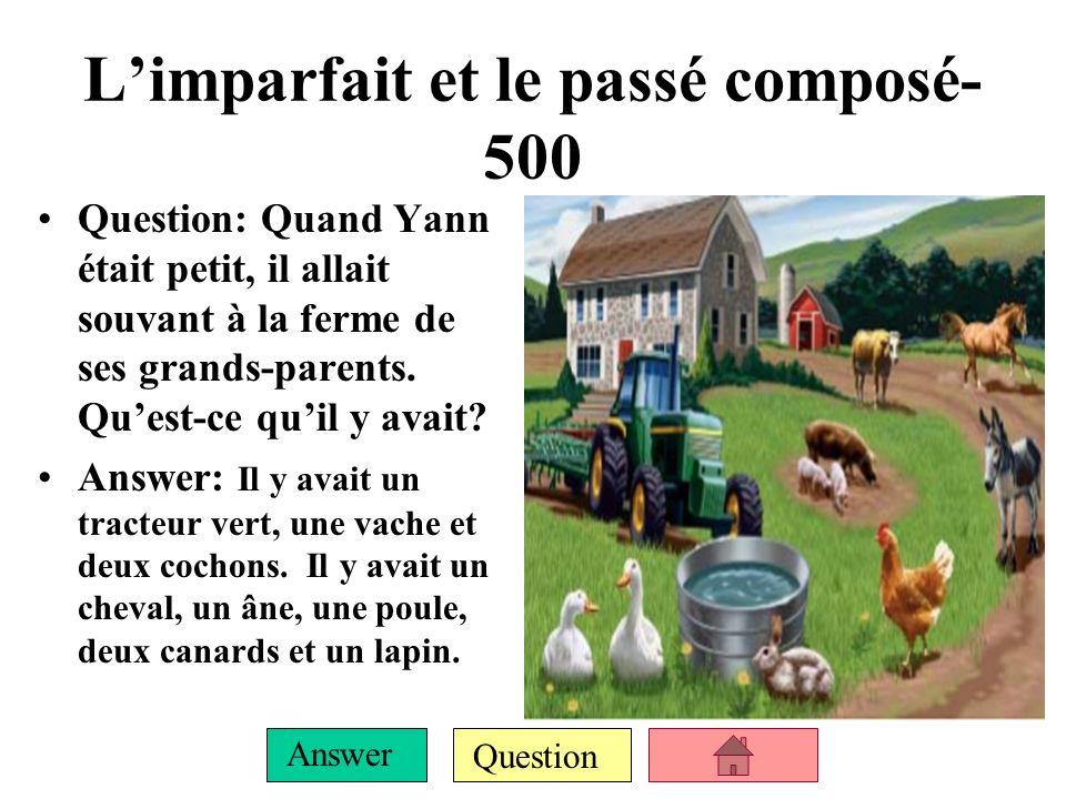 Question Answer Limparfait et le passé composé- 400 QUESTION: Name the class that uses: une règle, des crayons de couleur, une gomme ANSWER: Les arts plastiques