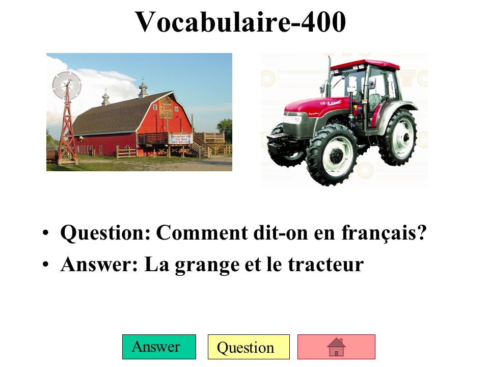 Question Answer Vocabulaire-300 Question: Nomme quatre (4) animaux de la ferme (avec larticle). Answer: le cochon, la vache, le cheval, le lapin, le m