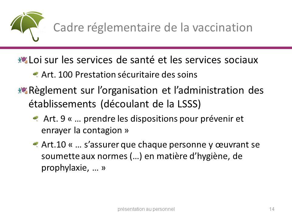 Cadre réglementaire de la vaccination Loi sur les services de santé et les services sociaux Art. 100 Prestation sécuritaire des soins Règlement sur lo