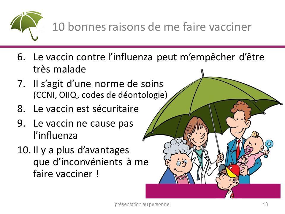 10 bonnes raisons de me faire vacciner 6.Le vaccin contre linfluenza peut mempêcher dêtre très malade 7.Il sagit dune norme de soins (CCNI, OIIQ, code