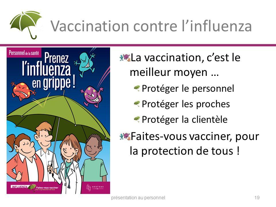 Vaccination contre linfluenza La vaccination, cest le meilleur moyen … Protéger le personnel Protéger les proches Protéger la clientèle Faites-vous va