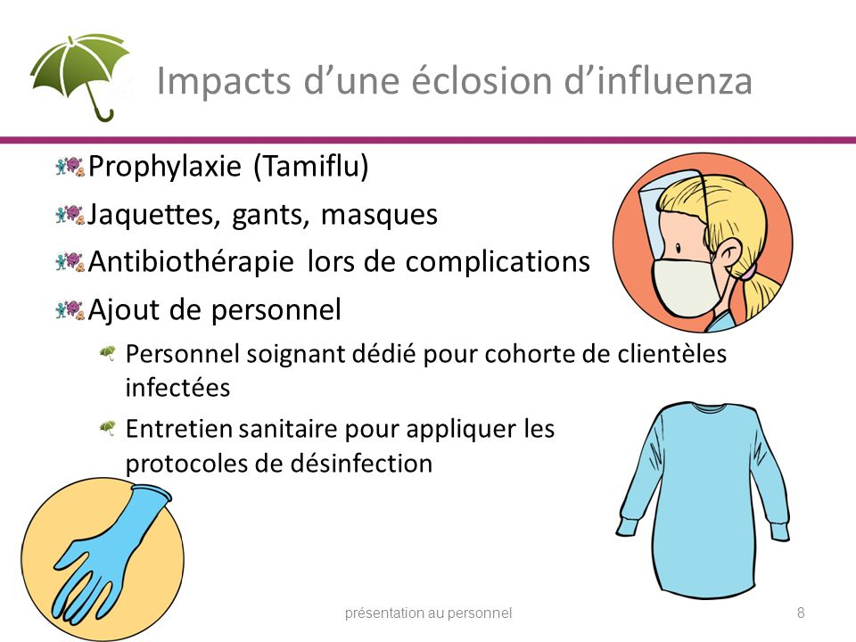 Impacts dune éclosion dinfluenza Prophylaxie (Tamiflu) Jaquettes, gants, masques Antibiothérapie lors de complications Ajout de personnel Personnel so