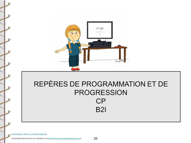 26 REPÈRES DE PROGRAMMATION ET DE PROGRESSION CPB2I Ecole élémentaire St Seurin sur lIsle Elise Veux http://leremuemeningesdelise.eklablog.com/http://